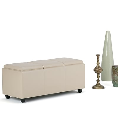 Avalon Faux Leather Storage Ottoman in Satin Cream with Three Trays