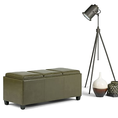 Avalon Faux Leather Storage Ottoman in Deep Olive Green with Three Trays (3AXCOT-243-BT)