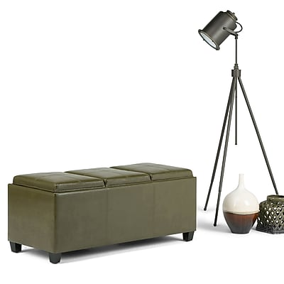 Avalon Faux Leather Storage Ottoman in Deep Olive Green with Three Trays