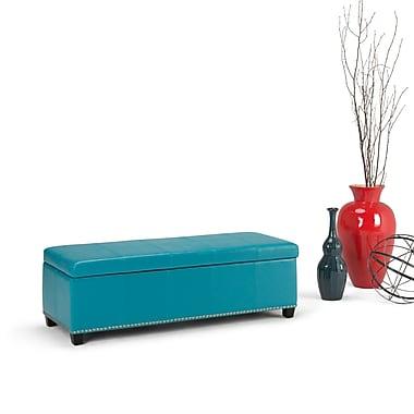 Kingsley Mediterranean Bonded Leather Storage Ottoman in Mediterranean Blue (AXCOT-238-BL)