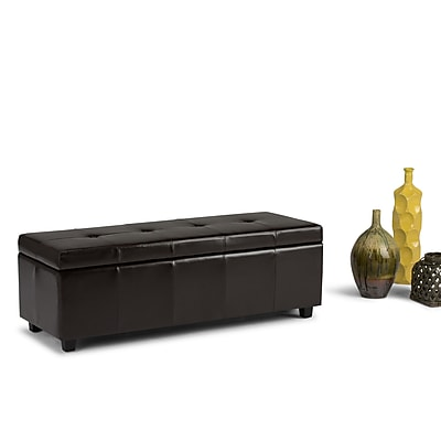 Castleford Bonded Leather Storage Ottoman in Coffee Brown (AXCOT-238-RRD)
