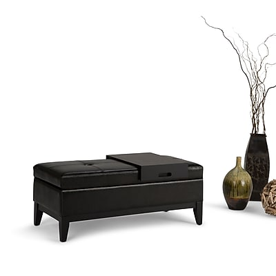 Oregon Faux Leather Storage Ottoman with Tray in Midnight Black