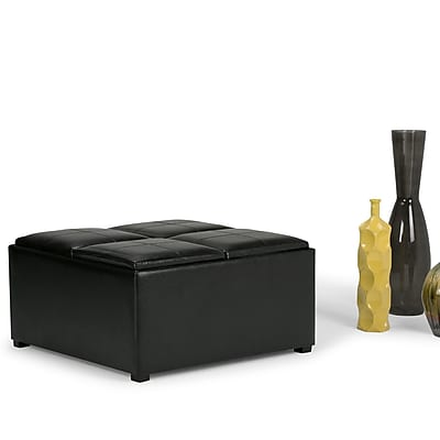 Avalon Faux Leather Square Coffee Table Storage Ottoman in Midnight Black (3AXCOT-239-NL)