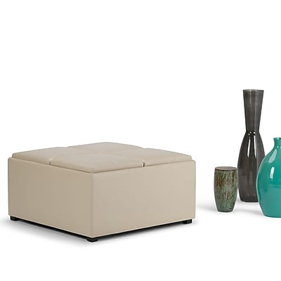 Avalon Faux Leather Square Coffee Table Storage Ottoman in Satin Cream