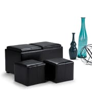 Avalon Faux Leather 5 piece Storage Ottoman in Midnight Black (3AXCOT-239-RRD)