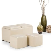 Avalon Faux Leather 5 piece Storage Ottoman in Satin Cream (3AXCOT-240-CR)