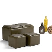 Avalon Faux Leather 5 piece Storage Ottoman in Deep Olive Green (3AXCOT-240-GL)