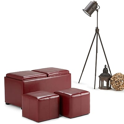 Avalon Faux Leather 5 piece Storage Ottoman in Radicchio Red