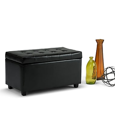 Cosmopolitan Faux Leather Storage Ottoman in Midnight Black (3AXCOT-243-GL)
