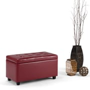 Cosmopolitan Faux Leather Storage Ottoman in Red (AXCOT-252-LG-GL)