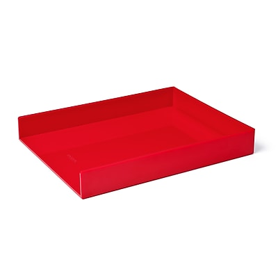 Poppin Letter Tray, Single, Red, 4 Pack (106315)