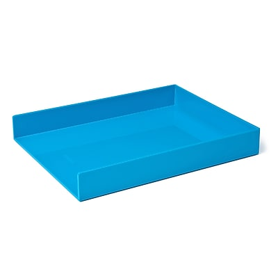 Poppin Letter Tray, Single, Pool Blue, 4 Pack (106314)