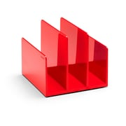 Poppin Fin File Sorter Plastic Desktop, Red, 4 Pack (106300)
