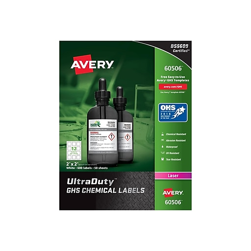 "Avery UltraDuty Laser Specialty Labels, 2"" x 2"", White, 12 Labels/Sheet, 50 Sheets/Pack (60506)"