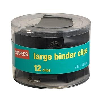 "Staples 2"" Binder Clips, Large, Black, 12/Pack (10669)"