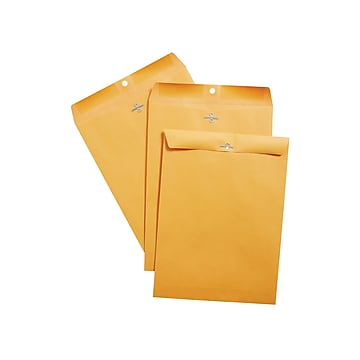 "Staples Clasp & Moistenable Glue Catalog Envelopes, 9""L x 12""H, Brown, 100/Box (187021/19270)"