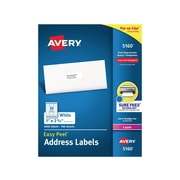 "Avery Easy Peel Laser Address Labels, 1"" x 2 5/8"", White, 30 Labels/Sheet, 100 Sheets/Box (5160)"
