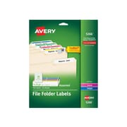 "Avery Laser/Inkjet File Folder Labels, 2/3"" x 3 7/16"", Assorted Colors, 30 Labels/Sheet, 25 Sheets/Pack (5266)"