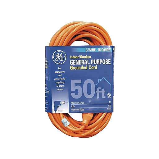 GE Indoor/Outdoor 50' General Purpose Extension Cord, 1-Outlet, Orange (99599)