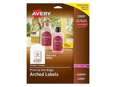 """Avery Print-to-the-Edge Laser Specialty Labels, 3"""" x 2 1/4"""", White, 9 Labels/Sheet, 10 Sheets/Pack (22809)"""