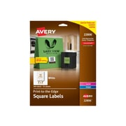 "Avery Easy Peel Print-to-the-Edge Specialty Labels, 2"" x 2"", White, 12 Labels/Sheet, 25 Sheets/Pack (22806)"