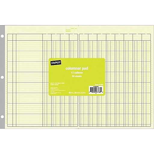 Staples Columnar Book, 100 Pages, Green (217885)