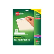 "Avery Removable Inkjet File Folder Labels, 2/3"" x 3 7/16"", White, 30 Labels/Sheet, 25 Sheets/Pack (8066)"