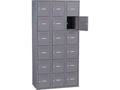 36w x 18d x 6h TENNSCO CLB3618MG Three Wide Closed Locker Base Medium Gray