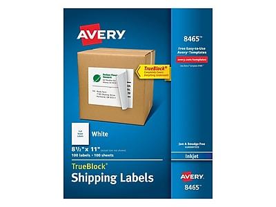 "Avery TrueBlock Inkjet Shipping Labels, 8 1/2"" x 11"", White, 1 Label/Sheet, 100 Sheets/Box (8465)"
