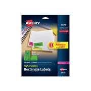 "Avery High-Visibility Laser Address Labels, 1"" x 2 5/8"", Assorted Colors, 30 Labels/Sheet, 15 Sheets/Pack (5979)"