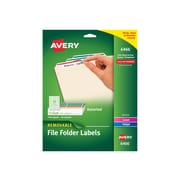"Avery Removable Laser/Inkjet File Folder Labels, 2/3"" x 3 7/16"", Assorted Colors, 30 Labels/Sheet, 25 Sheets/Pack (06466)"