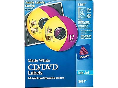 Avery Inkjet Media Labels, Matte White, 100/Box (8691)