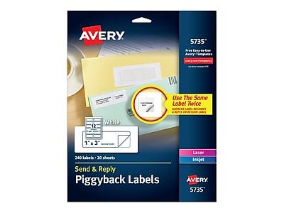 "Avery Send & Reply Piggyback Laser/Inkjet Address Labels, 1"" x 3"", White, 12 Labels/Sheet, 20 Sheets/Pack (5735)"
