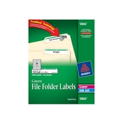 "Avery Laser/Inkjet File Folder Labels, 2/3"" x 3 7/16"", Green, 30 Labels/Sheet, 50 Sheets/Box (5866)"