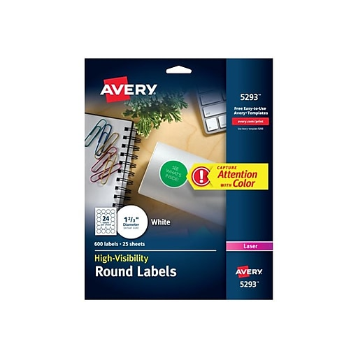 AveryR White High Visibility Labels For Laser Printers 5293 1 2 3 Diameter Pack Of 600