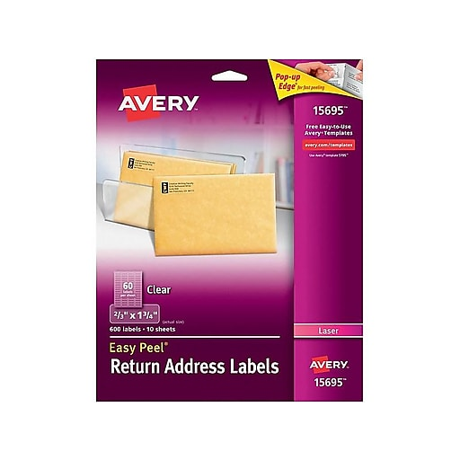 Avery 15695 Clear Laser Return Address Labels With Easy Peel 23