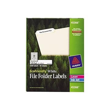 "Avery EcoFriendly Laser/Inkjet File Folder Labels, 2/3"" x 3 7/16"", White, 30 Labels/Sheet, 50 Sheets/Box (45366)"