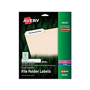 "Avery EcoFriendly Laser/Inkjet File Folder Labels, 2/3"" x 3 7/16"", White, 30 Labels/Sheet, 25 Sheets/Pack (48266)"