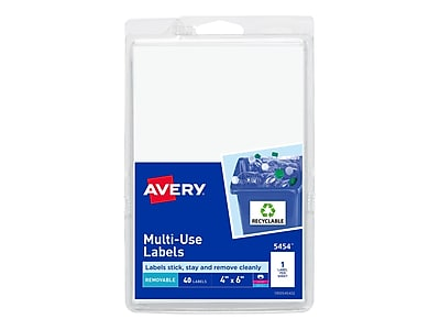 "Avery Laser/Inkjet Multipurpose Labels, 4"" x 6"", White, 1 Label/Sheet, 40 Sheets/Pack (5454)"