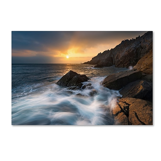 "Trademark Fine Art Mathieu Rivrin 'Tides of the Century in Pointe du Raz' 12"" x 19"" Canvas Stretched (190836134328)"