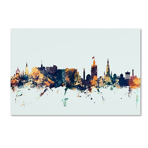 "Trademark Fine Art Michael Tompsett 'Edinburgh Skyline Blue' 12"" x 19"" Canvas Stretched (190836086528)"
