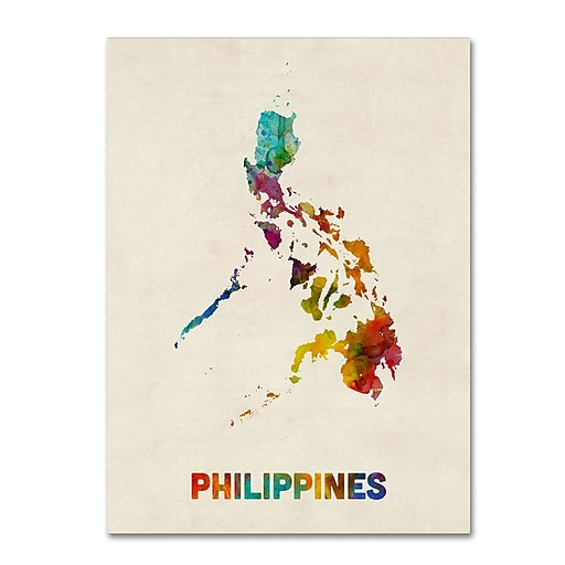 "Trademark Fine Art Michael Tompsett 'Philippines Watercolor Map' 14"" x 19"" Canvas Stretched (190836021673)"