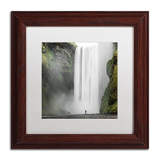 "Trademark Fine Art Philippe Sainte-Laudy 'Alone at Skogafoss' 11"" x 11"" Matted Framed (190836281947)"
