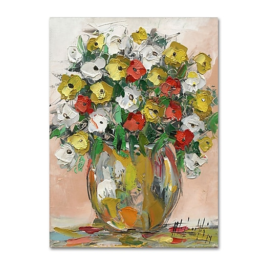 "Trademark Fine Art Hai Odelia 'Spring Flowers in a Vase 8' 14"" x 19"" Canvas Stretched (190836068548)"