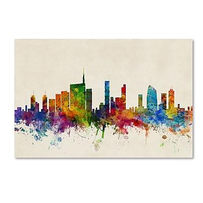 Trademark Fine Art Michael Tompsett 'Milan Italy Skyline Beige' 12