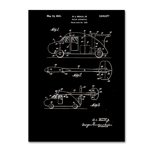 """Trademark Fine Art Claire Doherty 'Flying Car Patent 1941 Black' 14"""" x 19"""" Canvas Stretched (886511939615)"""