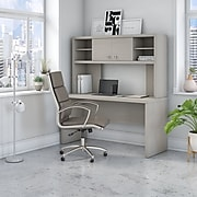 Office by kathy ireland® Echo 60W Credenza Desk with Hutch, Gray Sand (ECH030GS)