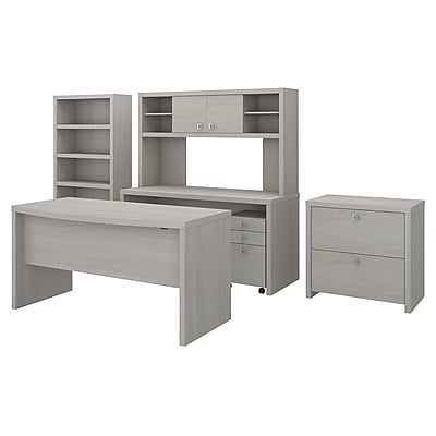 Office By Kathy Ireland® Echo Bow Front Desk, Credenza With Hutch, Bookcase  And File Cabinets, Gray Sand (ECH029GSSU) | Staples