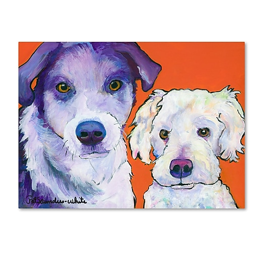 """Trademark Fine Art Pat Saunders-White 'Milo and Max' 14"""" x 19"""" Canvas Stretched (190836061471)"""
