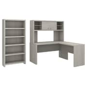 Office by kathy ireland® Echo L Shaped Desk with Hutch and 5 Shelf Bookcase, Gray Sand, Installed (ECH033GSFA)